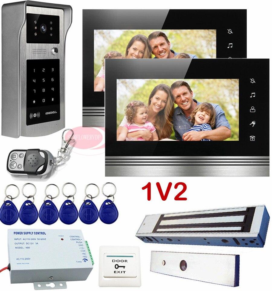 1V2 Kit d'interphone vidéo pour une maison individuelle Rfid/Code déverrouiller visiophone + interphone serrure magnétique électrique Ip55 touche tactile