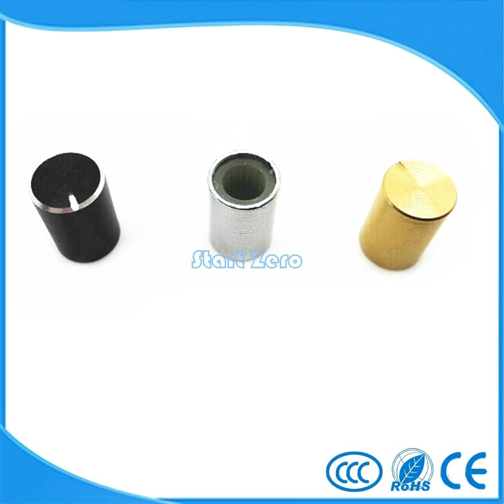 Metal Chassis Volume Potentiometer Control Non-slip Knob Caps Gold Tone 10pcs