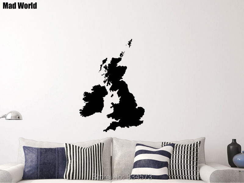 Mad world united kingdom uk world map silhouette wall art stickers mad world united kingdom uk world map silhouette wall art stickers wall decal home diy decoration removable decor wall stickers 57x81cm gumiabroncs Images