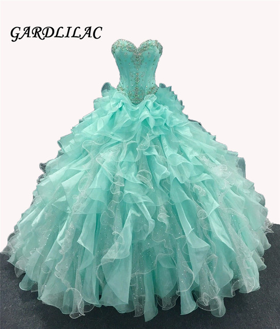 Mint Quinceanera Dresses Long Prom Party Beaded Ball Gown Bridal Dresses vestidos de 15 anos for 15 Years Ruffles Skirt