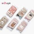 Indostyle 2 pares de respirável doce animal dos desenhos animados de algodão meias mulheres meias bonito meias kawaii fox cat urso hedgehog m3621