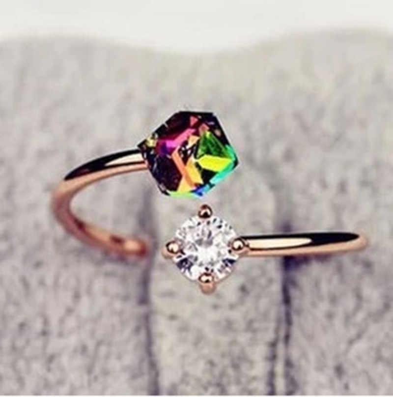 Rose Gold สีสันสดใสบล็อกคริสตัล Retro Zircon แหวนเลดี้หมั้นงานแต่งงานแหวนของขวัญวันวาเลนไทน์