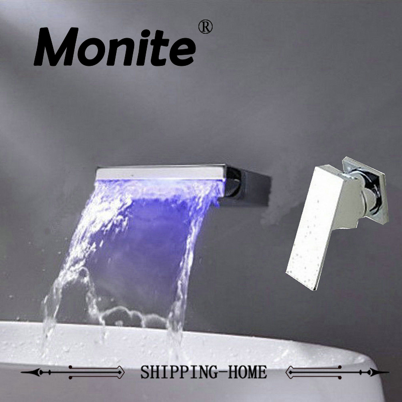 Good Quality Bathroom Faucet LED Color Changing Bathroom Basin Sink Faucet Wall Mount Chrome Brass Mixer Tap Waterfall Faucet