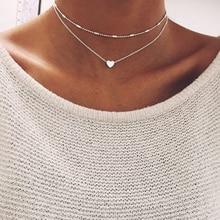 Fashion Simple Women Pendant Necklace Double layers Heart love Street Shoot Delicate Choker Jewelry цена