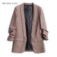 REJINAPYO Women Tweed Vintage Chic Blazer Notched Collar Pleated Sleeve Office Lady Casual Fashion Blazer Coat with Pockets