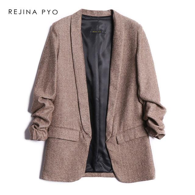 REJINAPYO женский твидовый винтажный шикарный Блейзер С Вырезанным воротником, плиссированные рукава, офисный Женский Повседневный модный блейзер с карманами