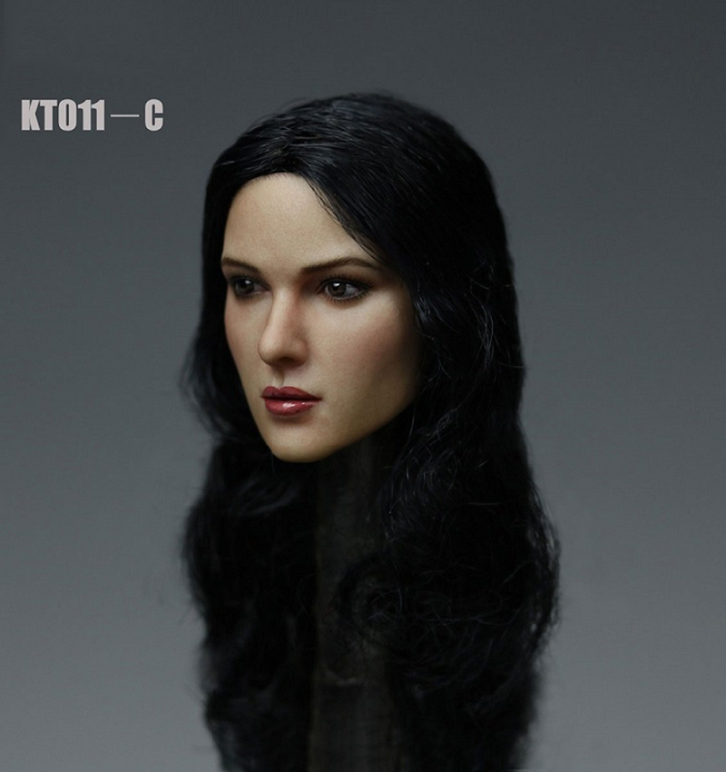 KM TOYS 1/6 Female Head Carved Sculpt Model KT011 A B C European Long Curly Hair  For 12'' PH S07 Pale Body Action Figures