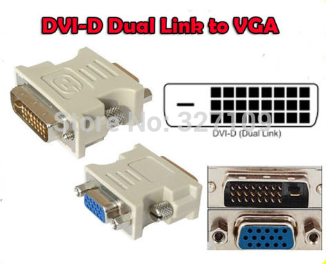 10PCS DVI-D Dual Link male 24+1 to VGA female adapter wholesale free shopping dvi 24 1 male to vga female adapter white 10 pcs