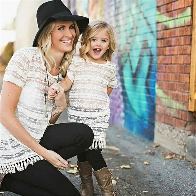 Plus Size Mother Daughter Dresses 2018 New Summer Lace Hollow Mother Daughter Matching Clothes Family Look Girl Mom Shirts Dress