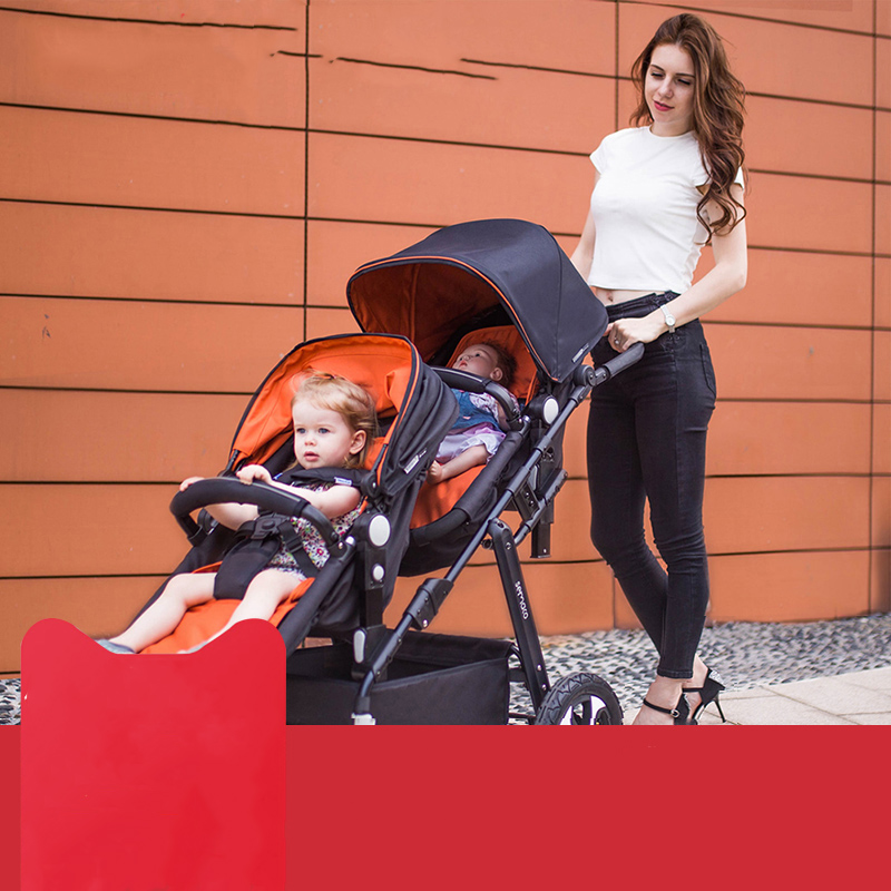 Semaco Twin High Landscape Stroller Second Child Stroller Can Sit Reclining Front and Rear Double Sleeping Basket Baby StrollerSemaco Twin High Landscape Stroller Second Child Stroller Can Sit Reclining Front and Rear Double Sleeping Basket Baby Stroller