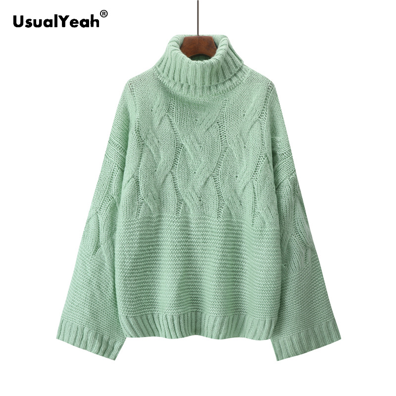 UsualYeah Twist Turtleneck Winter Sweater Women Loose Mohair Pullover Female Soft Warm Casual Jumper pink purple beige green