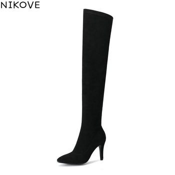 NIKOVE 2019 Women Boots Sexy Over The Knee Boots Winter Shoes Short Plush Look Slim Thin High Heel Autumn Shoes Woman Size 34-43