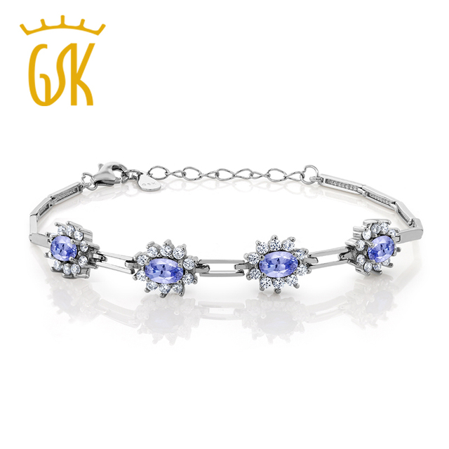 9387fa3713e GemStoneKing Tanzanite 2.36 Ct E CZ 925 Esterlina Pulseira de Prata Céu  Azul Prata Esterlina Bracelete