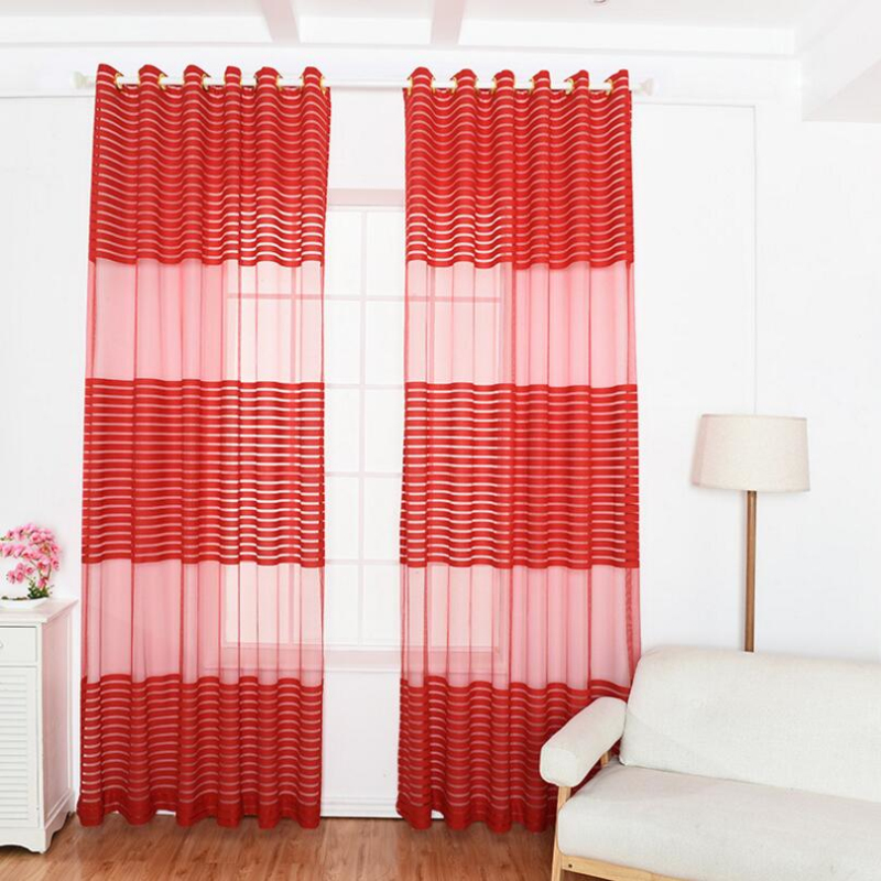 Green Curtains Warp Knitting Voile Curtain Red Window Modern Living ...