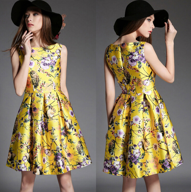 Summer Sleeveless Vest Dress Flowers Owl Birds Printed For Women Fit And Flare Las
