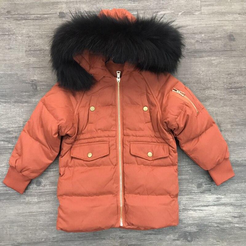 2019 Winter Hoodie Große Natur Pelz Kleidung Kinder Schnee Tragen Warme Lange Unten Jacke Jungen Mädchen Winter Mode Dicken Casual Mäntel