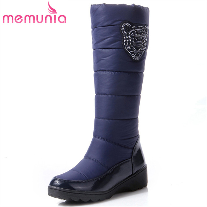 MEMUNIA 2018 New arrive mid calf boots PU down keep warm snow boots in winter fashion med heels waterproof big size 35-44 double buckle cross straps mid calf boots