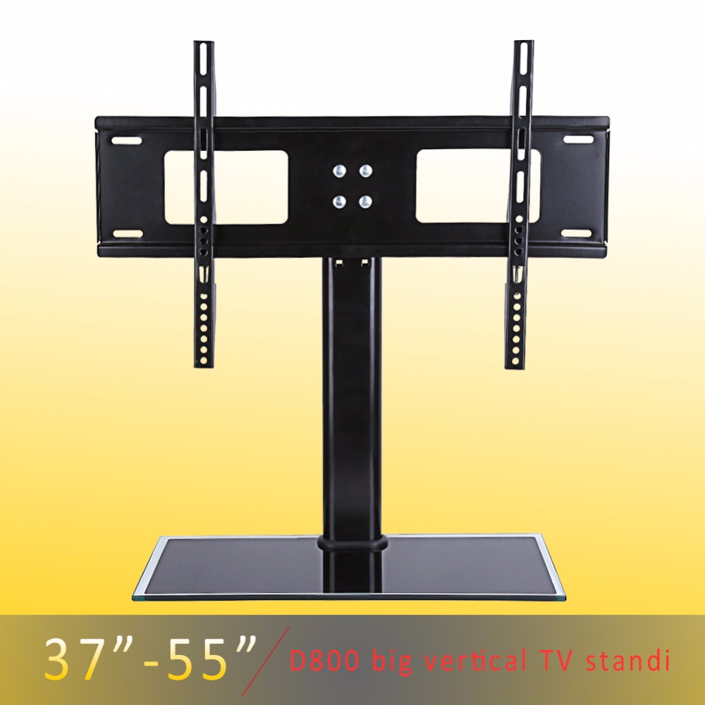 Height Adjustable 37 55 Inches Black Glass Tv Mount Floor
