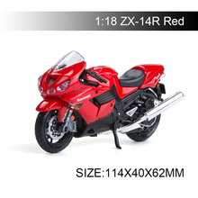 Maisto 1:18 Motorcycle Models Kawasaki Ninja ZX-14R ZX14R Red Diecast Plastic Moto Miniature Race Toy For Gift Collection