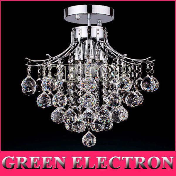 Crystal Chandelier With 3 Lights Mini Style Flush Mount Ceiling Light Fixture For Dining Room Bedroom Living D40 X H34cm In Pendant From