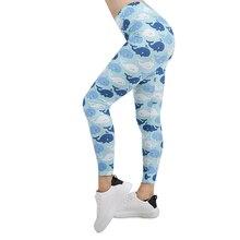 Women Legging happy whales Printing Leggins Slim High Elasticity Legins Fitness Leggings Female Pants