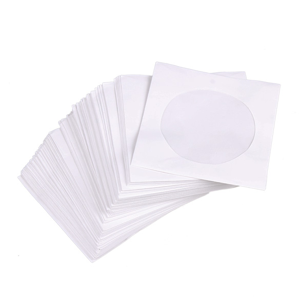 Mini 95pcs Protective White Paper CD DVD Disc Storage Bag Envelopes Flap Dustproof Anti Scratch CD DVD Protect Bag 8.5cm x 8.5cm