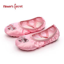 Embroidered SATIN SEQUIN dance shoes soft soled ballet shoes(China)