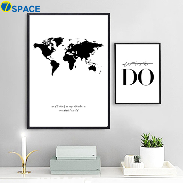7 space world map canvas nordic wall art canvas painting black and 7 space world map canvas nordic wall art canvas painting black and white print poster gumiabroncs Gallery