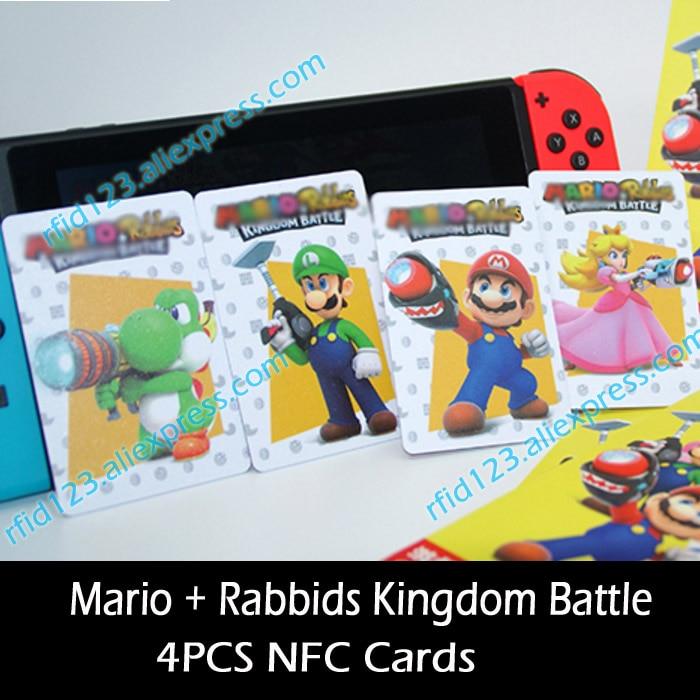 4PCS NFC Card NTAG215 Card for Mario + Rabbids Kingdom Battle mario rabbids битва за королевство фигурка кролик марио 3