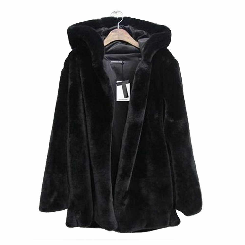CHAMSGEND 2018 New Winter Coat Women Warm Faux Fur Coat Plus Size Women Solid Hooded Jacket Winter Long Sleeve Coat Jacket No8