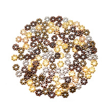 4mm 500pcs Tibetan Silver Flower Spacer Beads Round Small Loose Metal Daisy Needlework DIY Wheel Bead for Jewelry Making