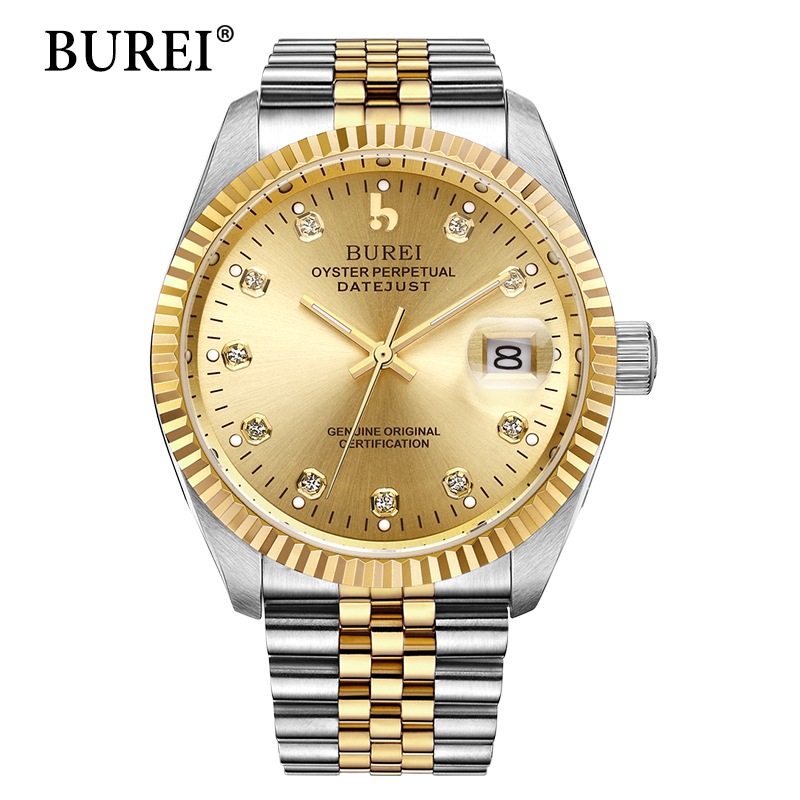 BUREI Mens Automatic Mechanical Watches Men's Watch Best Luxury Brand Sapphire Steel Band Male Business Waterproof Clock Hot New us standard touch remote control light switch 2gang1way white gold pearl crystal glass wall switch with led indicator mg us01rc