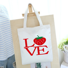 LOVE Print Tote Bag 12oz Canvas Thick Tote Lady Reusable Canvas Shopping Bag Summer Beach White Handbag canvas ethnic print tote bag