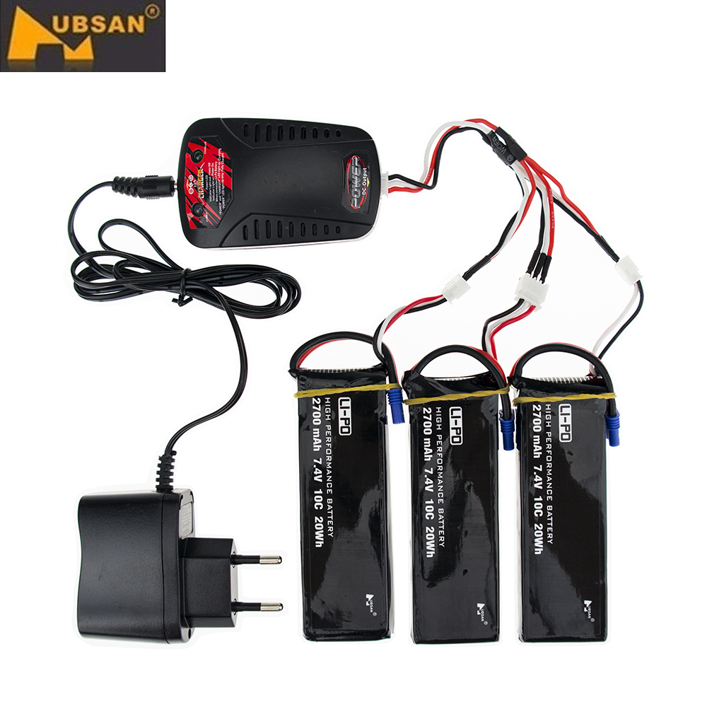 Original Hubsan H501C H501S X4 7.4V 2700mAh lipo battery 10C 20WH battery + Charger Set For RC Quadcopter Drone Parts hubsan h501s x4 rc battery 7 4v 2700mah 10c rechargeable lipo batteies for hubsan h501c quadcopter airplane drone spare parts