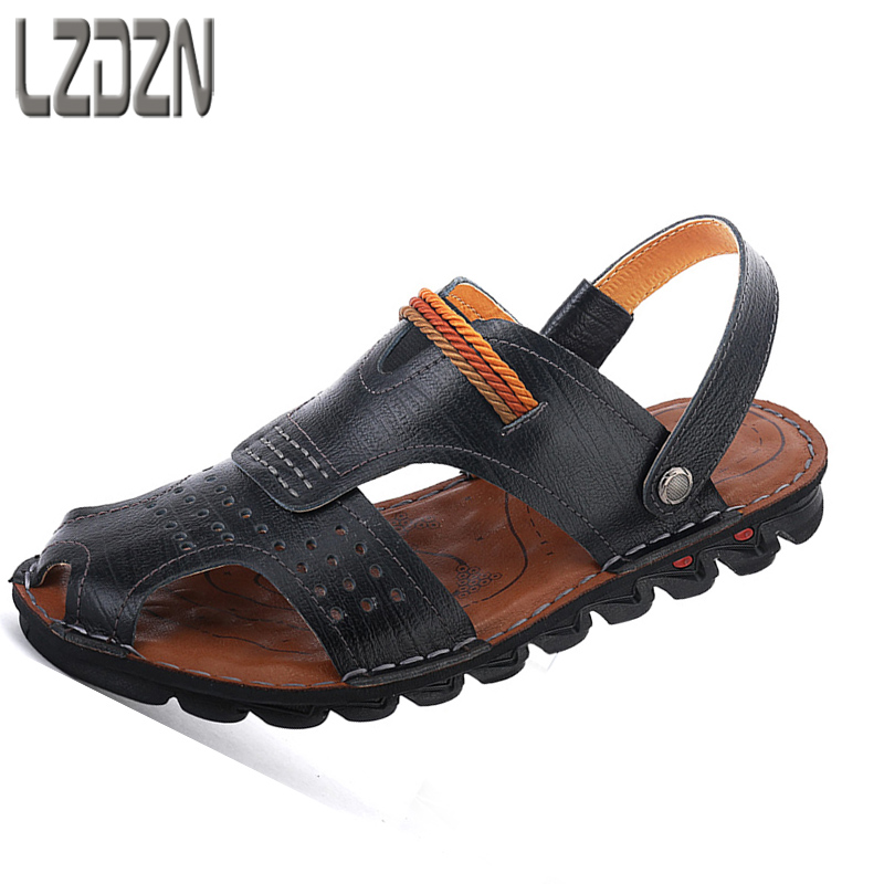 2018 new mens shoes, men sandals, half slippers, beach leather sandals male,Sneakers Men Slippers Flip Flops Summer Shoes