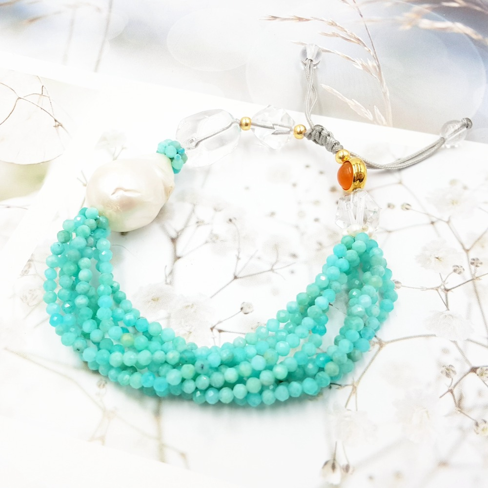 LiiJi Unique pierre naturelle brillant Amazonite Baroque perle claire Quartzs Carnelians Bracelet de mode