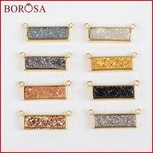 BOROSA Rectangle Gold Color Bezel Natural Stone Titanium Rainbow Druzy Connector Double Bails DIY Necklace Drusy Jewelry ZG0137