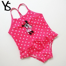 12-18M Baby Girls Swimwear Toddlers Kids One Pieces Mine Mouse Dot Print Swimming Suit Baby Clothing