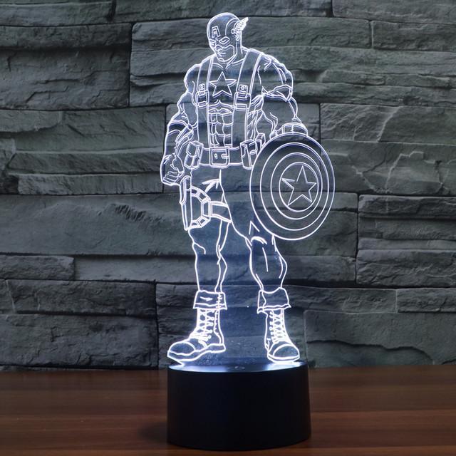 Capitán América Avengers Alliance Juguetes Aficionados Lámpara Led de Colores 3d Acrílico Ilusión Lampe Usb Led Light Touch de Recogida de Juguetes