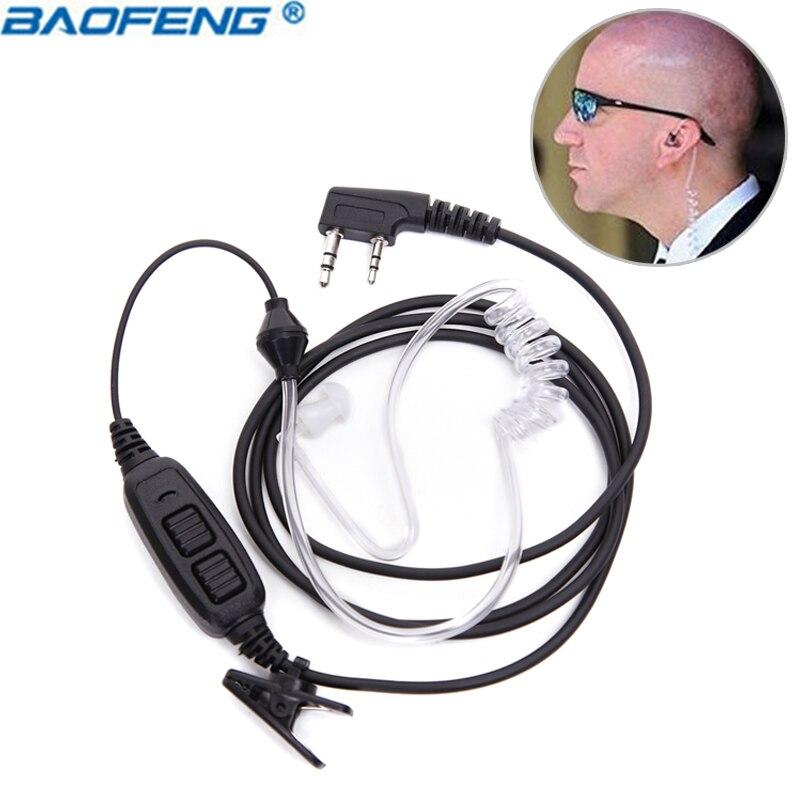 Baofeng 2 Broches Double PTT Secrète D'air Écouteur Acoustique Casque Pour BaoFeng UV-82 UV-82HP UV-82XH UV-8D Plus Talkie-walkie