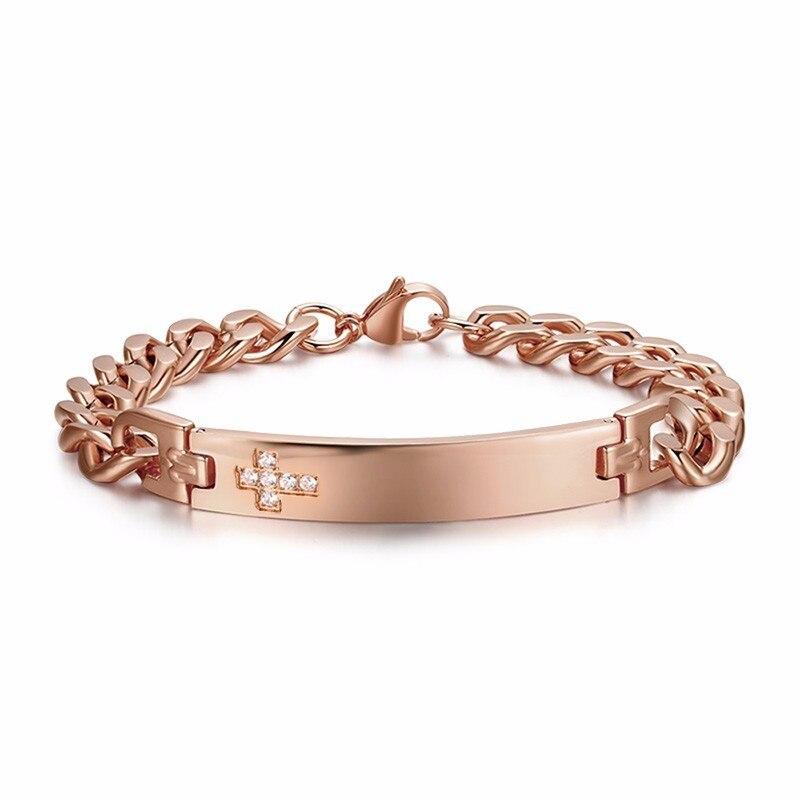 77db31505fea Personalizado Cubic Zirconia Cross Etiqueta de ID de enlace brazalete de la  pulsera para las mujeres de los hombres de acero inoxidable Cuba cadena  Braslet ...