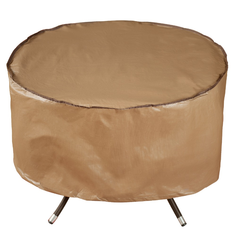 Abba Patio Outdoor Patio Round Fire Pit Cover/Table Cover, 40-inch, Water Resistant, Brown abba patio outdoor porch rectangular table and chair set cover water proof all weather protection tan 108 l x 82 w x 36 h