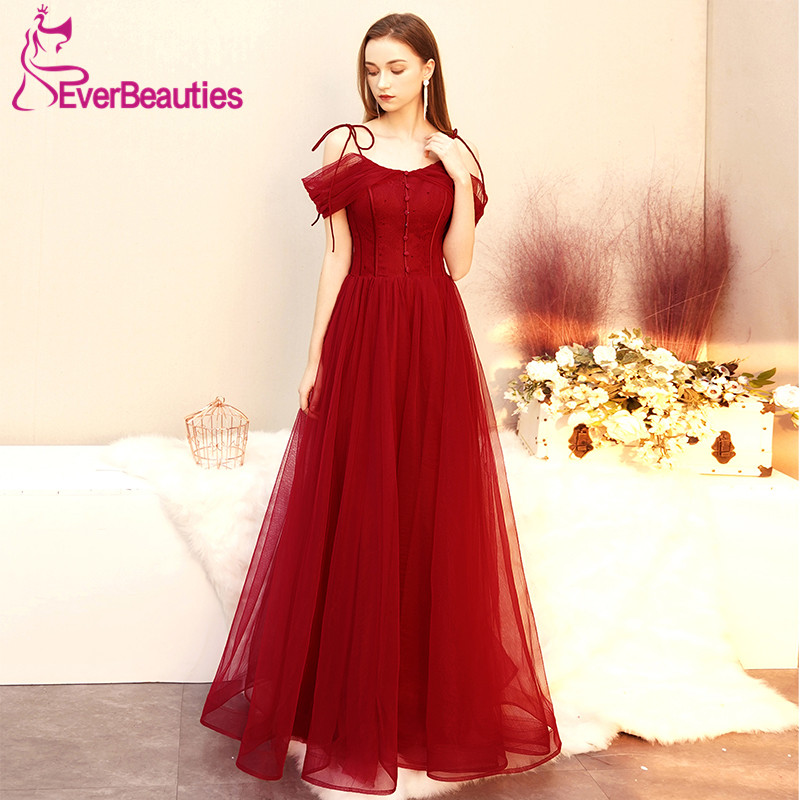 Wine Red Elegant   Evening     Dress   Long Abiye Gece Elbisesi Tulle Robe De Soiree Formal   Dress   Women Abendkleider 2019