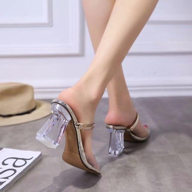 Bout argent Épais Sandales Deux Avec Talon Ouvert Haute Or Sexy Transparent Chaussures Nouvelle Paresseux Été Porter Cristal À Tqw5zq