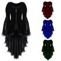 Women Gothic Long Sleeve Lace Stitching Velvet Tuxedo Jacket Medieval Aristocratic Ladies Vampire Dress Lolita Cosplay Costume