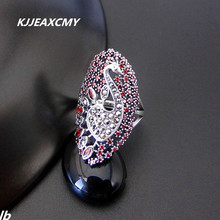 KJJEAXCMY  Fine jewelry 925 Thai silver inlay sterling silver peacock open ring finger ring lady exaggerated atmosphere