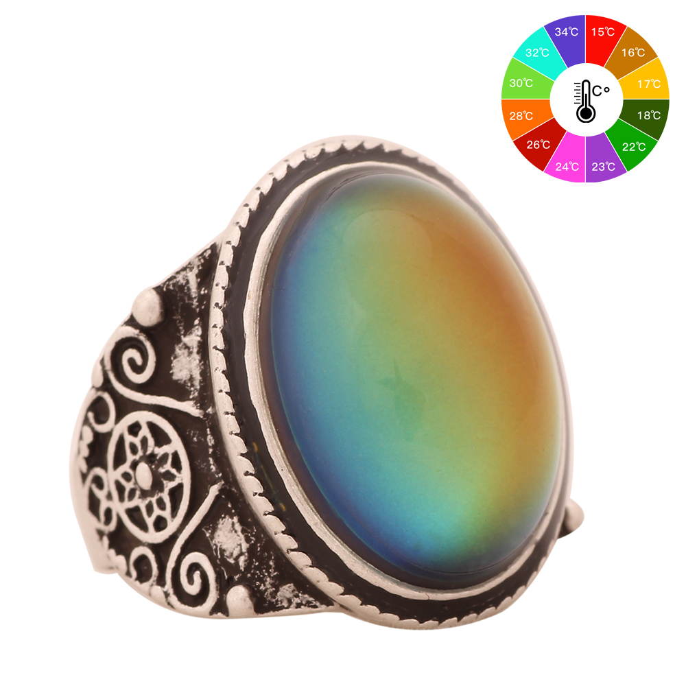 Mojo Vintage Bohemia Retro Color Change Mood Ring Emotie Gevoel Verwisselbare Ring Temperatuurregelaar Ring voor Dames MJ-RS004