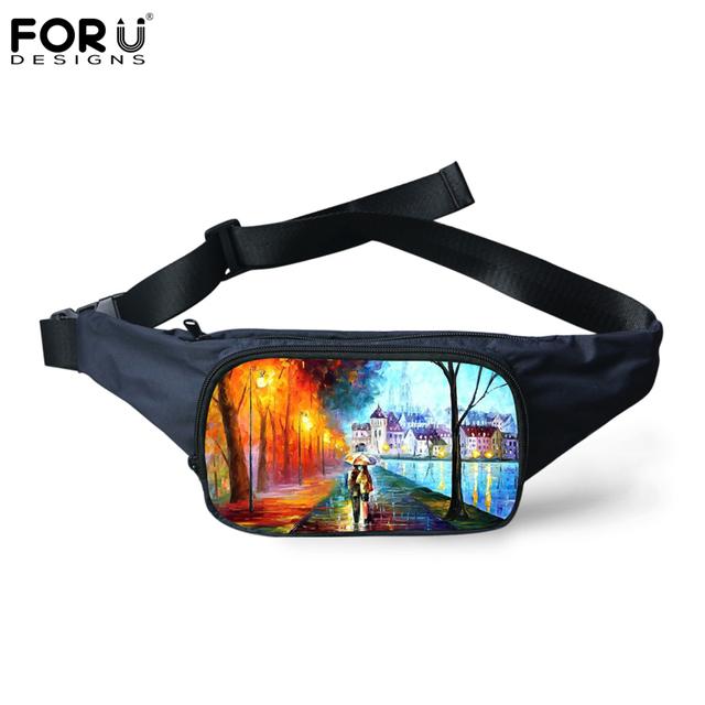 Forudesigns 3d pintura impresión mujeres cintura empaqueta bolsos de hombro ocasionales celular para mujer recorrido del paquete de fanny bolsa de lona impermeable