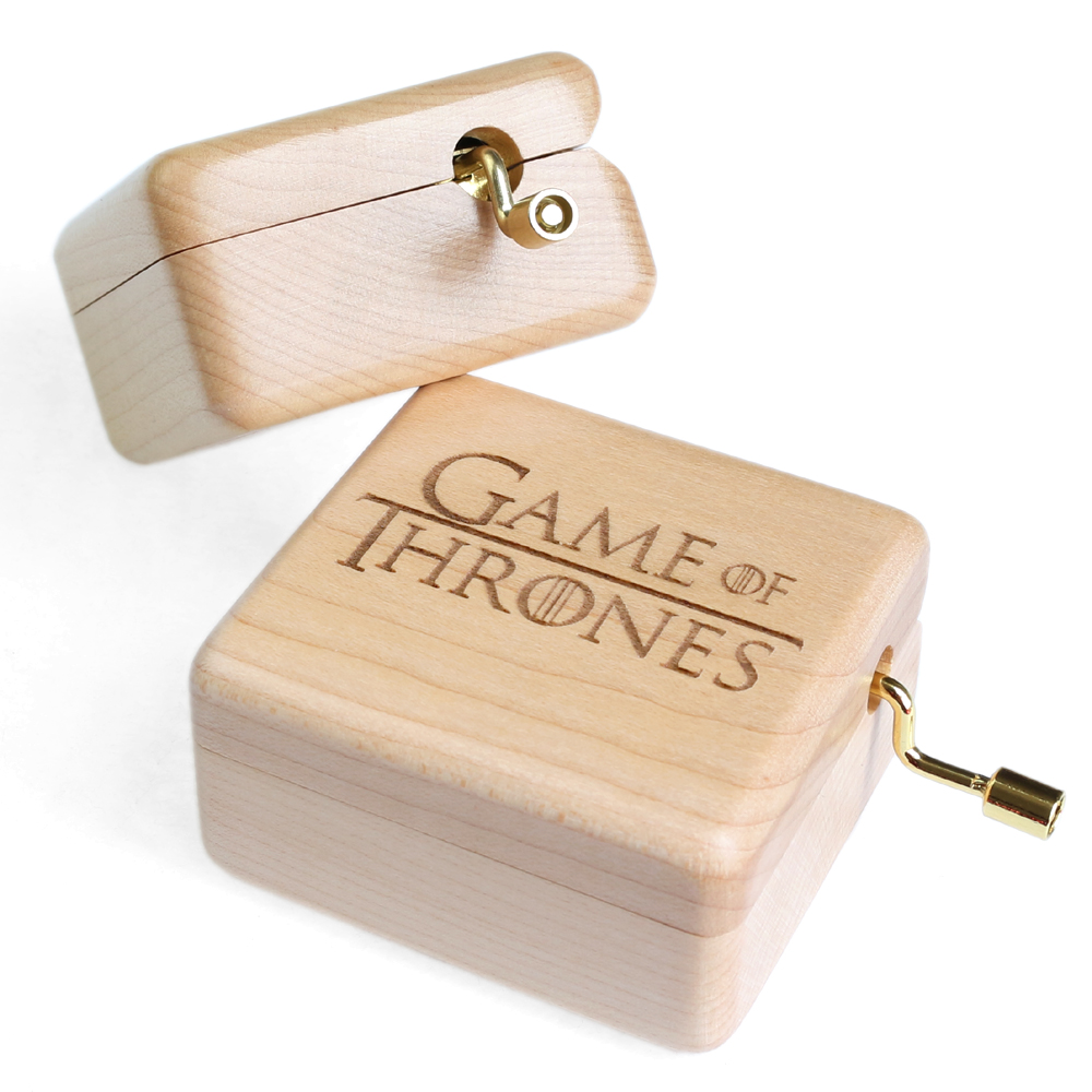 Handmade Wooden Game of Thrones Music Box Wood Carved Mechanism Musical Box Gift For Christmas Valentines day, Birthday