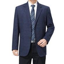 WAEOLSA Mature Man Blazer Blue Horizontal Line Grain Suit Coat Mens Classical Blazers Hombre Notched Collar Costume